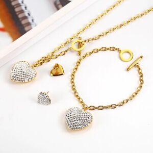Stainless steel Jewelry Woman Set Heart Necklace Earrings Jewelry Set Bohemian F