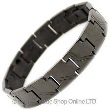 Mens Jet Black TITANIUM Magnetic Bracelet NEW 28 Magnets NdFeB Neodymium Therapy