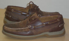 French Shriner leather boat shoes dark tan 10.5 Md NEW