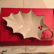 Lenox  Christmas Holly Leaf Candy Dish New In Box Holiday Item
