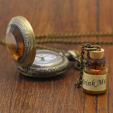 1 Pc Vintage Men Women Wishing Bottle Pendent Necklaces Pocket Watch Long Chain