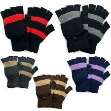 Men Women Winter Warm Fliptop Gloves Fingerless Convertible Knit Wool Mittens