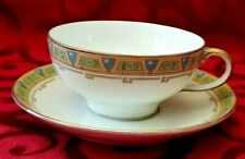 ANTIQUE LIMOGES  GUERIN & Co. FOOTED COFFEE TEA CUP & SAUCER SET GOLD GILT