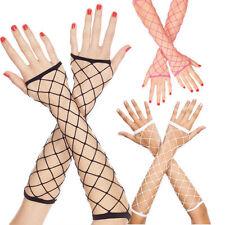 white  Diamond Net Music Leg Fingerless Gloves one size