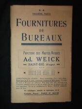 Ancien catalogue de fournitures de papeterie - Ad. Weick Saint-DIé Vosges - 1930