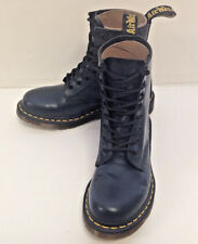 New DOC DR MARTENS AIRWAIR NAVY BLUE LEATHER LACE UP COMBAT BOOTS WOMENS 8 RARE