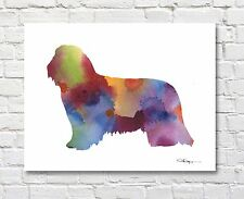 BEARDED COLLIE Contemporary Watercolor Abstract ART Print by Artist DJR