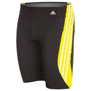 Adidas Solid Splice Infinitex + Swim Jammer Yellow 3 Stripes Mens 30 32 34 36 38
