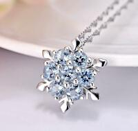 Silver Elegant Snow-flake Pave Blue Cubic Zirconia White Gold Pendant Necklace