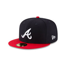 Atlanta Braves MLB New Era Authentic 100% Wool 59FIFTY Fitted Hat-Navy/Red