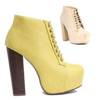 TheMogan Chunky High Heel Hidden Platform Lace Up Booties Ankle Boots