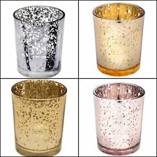 Gold, Rose Gold, Silver Speckle Glass Tea Light Holder, Wedding Table Decor