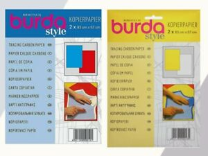 BURDA CARBON TRACING PAPER YELLOW & WHITE or BLUE & RED COPY PAPER 2 x 83cmx57cm