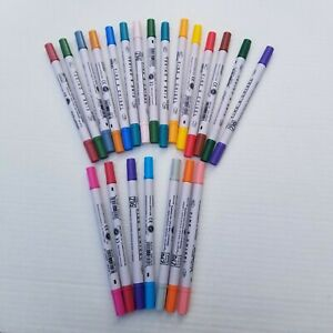 ZIG Calligraphy Markers LOT OF 22 NEW Dual Tip Fine & Chisel Multi Color