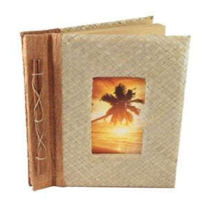 "Palm Leaf Photo Album Scrapbook Handcrafted with Cinnamon 9"" x 9.75"" x 1.25"
