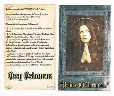 OZZY OSBOURNE PRINCE OF DARKNESS CARTOLINA PROMOZIONALE PROMO CARD NUOVA!!!