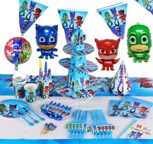 PJ OWLETTE BIRTHDAY PARTY TABLE COVER PLATES CUPS NAPKINS BALLOON BUNTINGS