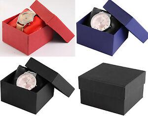 Uhrenbox Geschenkbox Schachtel Uhrenkarton Karton mit Kissen in BLAU ROT SCHWARZ