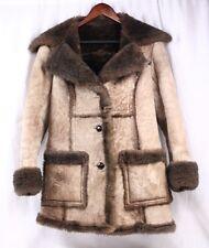 LAWRENCE Vintage 70s Genuine Shearling Wool Leather Coat Long Jacket Women 12
