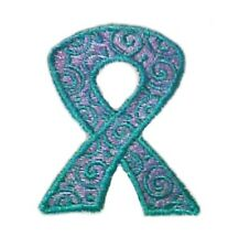 Teal Scrolled Ribbon Sweatshirt L Cancer Awareness White Crew Neck Unisex New