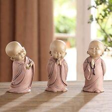 Set /3 Beautiful Standing Praying Resin Buddha Monks Statue/Figurines,7''H.