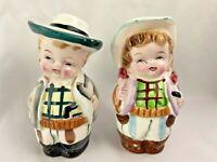 Vintage 1950'sJapan  Cowboy Cowgirl Children Salt & Pepper Shakers