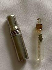 Antique Perfume Glass Bottle Case Original Label Miniature 1920s Scent Stopper