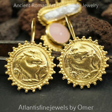 925 Sterling Silver Sun Collection Horse Coin Roman Art Earrings 24k Gold Plated