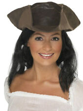 BROWN LEATHER LOOK PIRATE HAT LADIES MENS PIRATES FANCY DRESS ACCESSORY