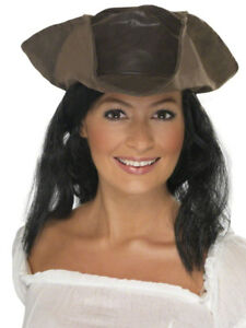 Brown Leather Look Pirate Hat Ladies Mens Tricon Hat Fancy Dress Pirates Accesso