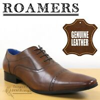 Roamers Classic Men's 5 Eye Punched Cap Oxfords Brown Leather Formal Shoes