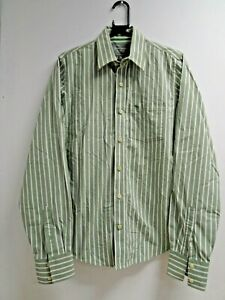 Abercrombie & Fitch Mens Muscle Fit Green Pinstripe Shirt UK Size M