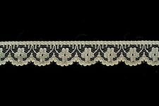 50 metres × 20mm Wide, Vintage Cream Lace Trim with Scalloped Edge