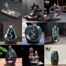 Ceramic Glaze Backflow Incense Burner Holder smoke Waterfall Decor 50 cones gift