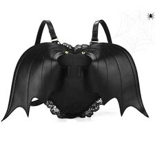 Gothic Black Bat Heart Wings Goth Punk Leather Bag Lace Lolita Wing Backpack Hot