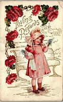 Loving Regards • Young lady pink florals embossed 1909 Vintage Postcard AA-004
