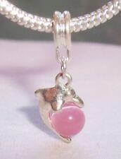 Pink Cat's Eye Dolphin Beach Sea Life Dangle Bead fits European Charm Bracelets