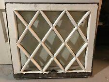 "c1900 Antique MISSION TUDOR Diamond Glass Pane Wood Window Sash 24"" x 21.5"" (C)"