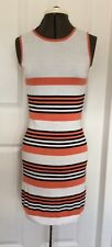 Aftershock Cotton Jersey Striped Sleeveless Dress Small UK 10 Black Orange