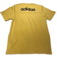ADIDAS - (S) Vintage 90s Mustard Yellow Back Spellout Tshirt  Sport Casual Retro