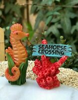 Miniature Dollhouse FAIRY GARDEN Ocean ~ Mini MERMAID LAGOON Seahorse & Sign