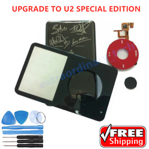 Black Faceplate Housing Back Cover Red Clickwheel for iPod U2 & Video 5th 30GB
