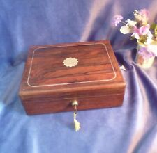 More details for victorian antique rosewood jewellery box, lock & key, original fittings