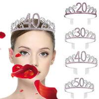 FJ- Pink Crystal Rhinestone Crown Tiara Anniversary Birthday Party Headpiece Coo