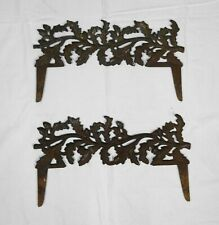 Two Antique Cast Iron Garden Fence Border Sections with Oak Leaves and Acorns