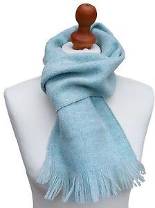 MENS 100% Shetland Wool Light Blue UK Manufacture Woven Scarf 162 cm x 23 cm