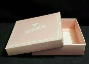 "Pink ""XOXO""  Gift Box With Lid  4"" L x 4"" W x 1"" T  Bridal, Birthday"