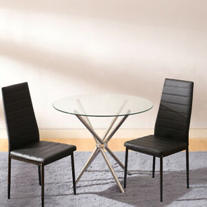 Round Dining Table and PU Chairs 2 4 Seater Set Glass Top Dining Chair Kitchen