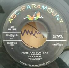 Dick Duane ABC-Paramount 9709 FAME AND FORTUNE/MEN DON'T CRY(POP 45)PLAYS VG+
