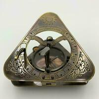 vintage Antique solid brass sundial compass nautical captains sundial gift item